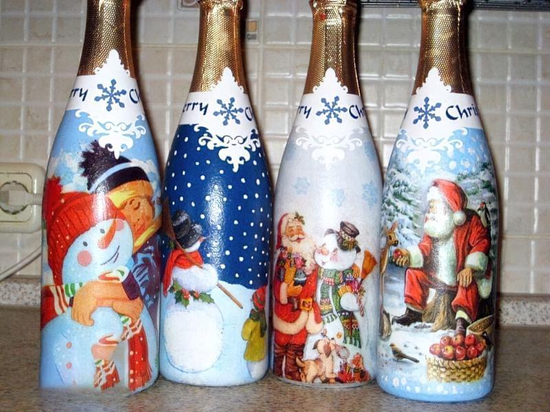 Ідеї як прикрасити пляшку шампанського до Нового року 1