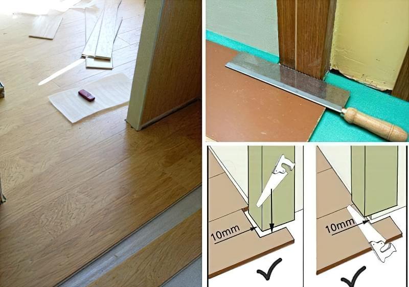 Підрізування коробки дверей дає можливість зробити акуратний стик