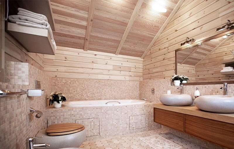 Варіанти оформлення стелі у ванній кімнаті 7