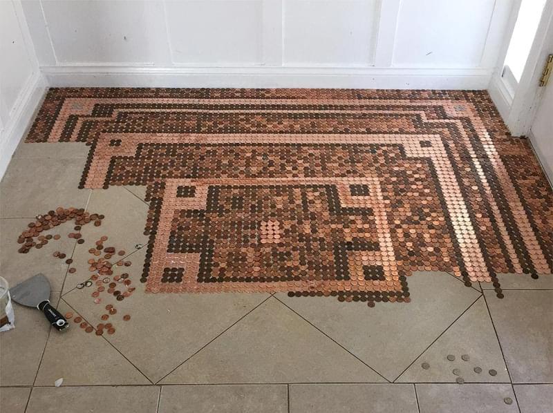Підлога з монет і епоксидної смоли: фотопідбірка 1